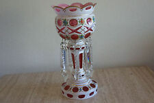 Antique Bohemian Czech White overlay cut to  cased Lustre Cranberry crystals (3)
