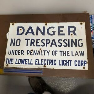 LARGE OLD VINTAGE lowell electric light corp   sign