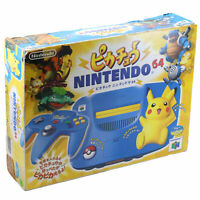 N64 - Konsole #Pikachu Blue + Original Pad + Zub. JAPAN mit OVP OVP beschädigt