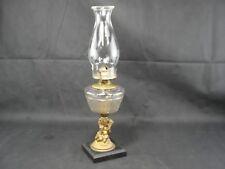 Antique Figural EAPG Glass Oil Lamp Mixed Metal Putti Cherub Dog Grapes Chimney