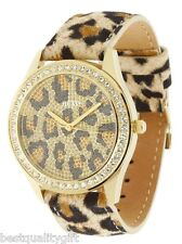 NEW GUESS BLACK,BROWN,BEIGE CHEETAH,LEOPARD LEATHER+CRYSTALS WATCH-U85109L1