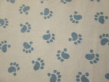DOG PAW PRINTS DOGS PRINTS BLUE FLANNEL FABRIC FQ OOP