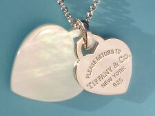 "Tiffany & Co Return To Tiffany Double Heart Mother of Pearl Silver 18"" Necklace"