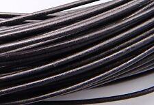 2mm Black Greek Leather Cord #40 (5 meters) Round Supple