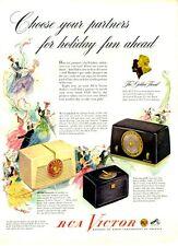 1948 RCA Victorla 8X542, 8X521, 8X681 small radio holiday dance party PRINT AD