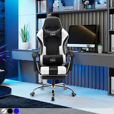 Neo Leather Gaming Racing Chair Office Executive Recliner With Leg Rest Massage