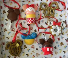 """Disney Set of 7 """" Mickey & Minnie Mouse Snack Food """" Pvc Christmas Ornaments New"""