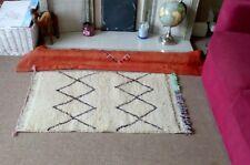 Small handmade wool rug carpet Geometric Moroccan Beni Ourain genuine,