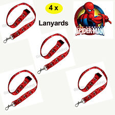 """4 x SPIDERMAN Lanyard Birthday Party Favours Supplies 18"""" Name id, phone clip"""