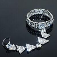 SX87 WGP Clear Rhinestone Crystal Bangle Bracelet Ring Bridal Wedding Party Gift