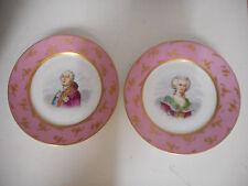 PAIRE D'ASSIETTES EN PORCELAINE DE SEVRES.Louis XVI et Marie-Antoinette.1846.