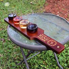 Personalized Wine Flight Set - Paddle and 4 Glasses - Its Wine O'Clock - Dark