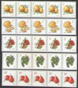 US. 5037, 5039, 5177, 5201 & 5256. American Fruits Coil Strip of 5. MNH.