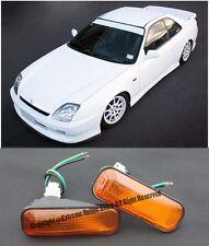 For 97-01 Honda Prelude BB6 Side Fender JDM AMBER DOME Side Marker Lights Lamp