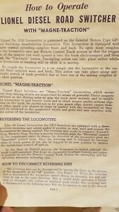 LIONEL 2028 GP7 LOCO INSTRUCTIONS DATED 7-55