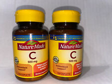 2 Nature Made Vitamin C 500 mg, 100 Caplets Exp.11/2023+ Pack Of 2!!