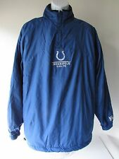 NFL COLTS Blue Nylon/Gray Fleece Reversible 1/2 Zip Pullover Jacket, size L NEW