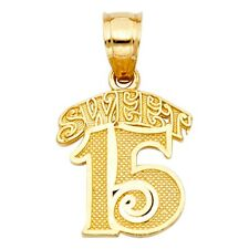 Sweet 15 Block Font Anos Quinceanera 14k Yellow Solid Gold Charm 14mm Pendant