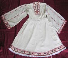 19C. ANTIQUE BULGARIAN FOLK ART TRADITIONAL COSTUME EMBROIDERED SILK DRESS