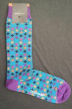Duchamp London Men's Cotton Mix Thick Socks Size Large Polka Plus Pacific Turqu.