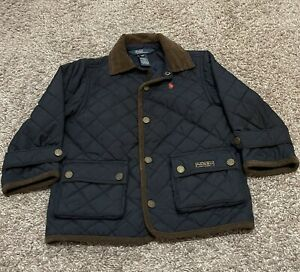 2T POLO Ralph Lauren Navy Diamond Quilted Barn Jacket Toddler Boy Size 2T