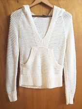 Armani Exchange Angora Wool Cream Open Knit Hoodie Pullover Sweater S EUC