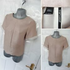 ❤ TOPSHOP Lovely Ladies Size 10 Dusky Pink Textured Tailored Shift Blouse Top