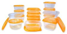 30 Pcs Reusable Plastic Food Storage Containers Set with Air Tight Orange Lids