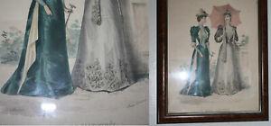 gravure de mode la mode illustrée XIXe cadre vitre