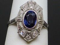 Art Deco 1CT Natural Sapphire & 1.2CTW Diamond 18K White Gold Ring 3.8g, size 6