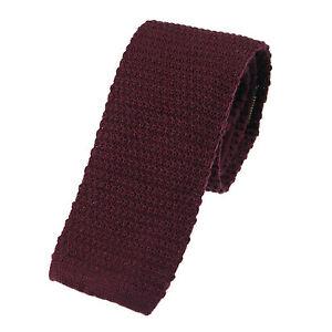 Men's Plain Burgundy Wool Knitted Tie (U102/28)