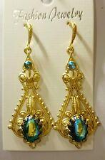Artisan Celtic Victorian style black ab iridescent dangling drop earrings
