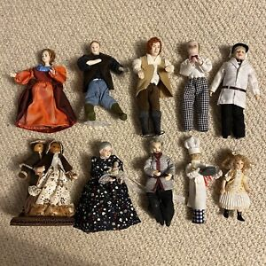 Collection of 10 Dolls House Figures Approx 1/12 Scale