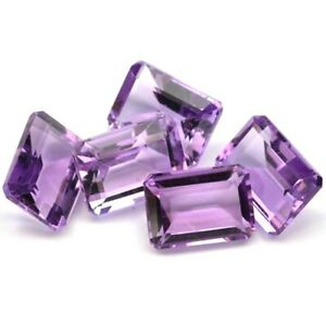 Wholesale Lot 7x5mm Emerald Cut Natural African Amethyst Loose Calibrated Gems
