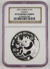 China 1991 P 1 Oz 999 Silver Panda 10 Yuan Proof Coin NGC PF69 Ultra Cameo
