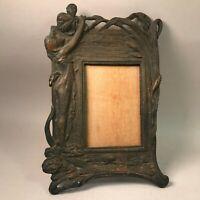 """Vtg 11"""" Victorian Art Deco Nouveau cast iron photo picture frame tabletop wall"""