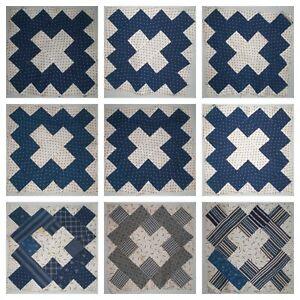 Quilt Blocks Album Courthouse Square Shirting Indigo Blue Late 1800 Cotton Set 9