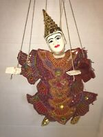 Burmese Asian Puppet Marionette Ornate Carved Wood Hand Painted