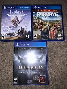 ps4 game lot Far Cry 5 Horizon Zero Dawn And Diablo 3 Ultimate Evil No Dlc