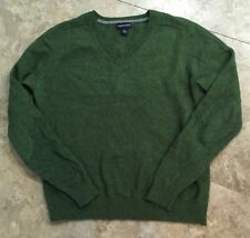 Lands End Men's V Neck Pullover Sweater Green Merino Wool Blend L