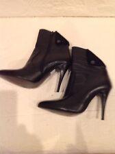 "Vera Gomma Women Black Leather Boots 4"" Heel Size 39"
