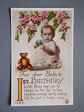 R&L Postcard: Baby 1st Birthday First, Teddy Bear, Rotary