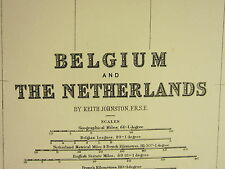 1896 LARGE VICTORIAN MAP ~ BELGIUM & THE NETHERLANDS ANTWERP BRABANT FLANDERS