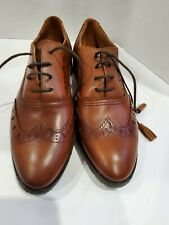 New Massimo Dutti Brogue Oxford Brown Leather Shoes Size 38 EU