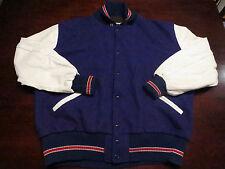 Vtg DeLong Varsity Letterman Soccer Wool Leather Sewn Patch Jacket Coat Sz XL