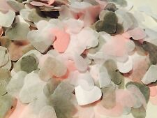 Pink grey & white heart wedding confetti-party table decorations-biodegradable