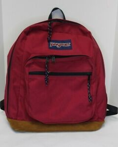 Jansport Right Pack Backpack/Book Bag Red/Maroon/Coral with Leather Bottom