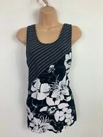 WOMENS JOSEPHINE CHAUS BLACK AND WHITE SLEEVELESS CASUAL ROUND NECK TOP SIZE M