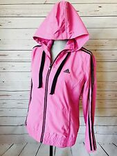Women's Adidas Full Zip Hooded Pink Black Jacket MEDIUM Hoodie Track Lightweight