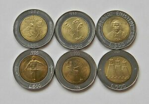 SAN MARINO: 6 verschiedene 500 Lire 1982 - 1987, prägefrisch/unc., SELTEN !!! B